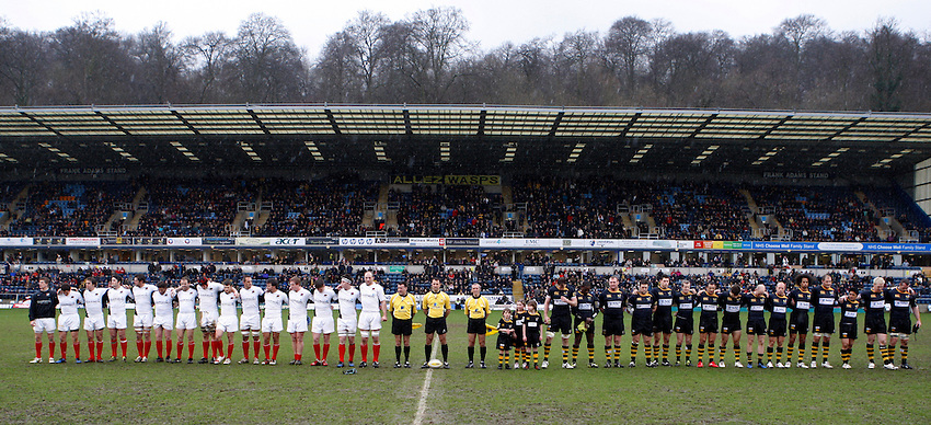 Photo: Richard Lane/Richard Lane Photography.London Wasps v Saracens. Aviva Premiership. 27/02/2011. A minutes silence to remember the victims of the earth quake in New Zealand.