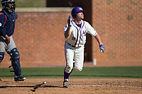 Jordan Sergent (9) of the High Point Panthers flips his bat as he watches the flight of his 2-run home run in the bottom of the 6th inning against the NJIT Highlanders at Williard Stadium on February 19, 2017 in High Point, North Carolina.  The Panthers defeated the Highlanders 6-5.  (Brian Westerholt/Four Seam Images)
