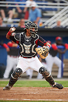 Batavia Muckdogs catcher Brad Haynal (23) warmup throw down to second in between innings during a game against the Mahoning Valley Scrappers on June 22, 2015 at Dwyer Stadium in Batavia, New York.  Mahoning Valley defeated Batavia 15-11.  (Mike Janes/Four Seam Images)