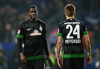 FUSSBALL   1. BUNDESLIGA   SAISON 2012/2013    19. SPIELTAG Hamburger SV - SV Werder Bremen                          27.01.2013 Assani Lukimya und Nils Petersen (v.l, beide SV Werder Bremen) sind nach dem Abpfiff enttaeuscht