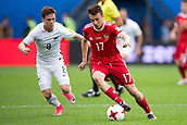 17th June 2017, St Petersburg, Russia; FIFA 2017 Confederations Cup football, Russia versus New Zealand; Group A - Saint Petersburg Stadium,  Russia's Aleksandr Golovin (r) and New Zealand's Michael McGlinchey vie for the ball during the Confederations Cup Group A soccer match between Russia and New Zealand at the stadium in Saint Petersburg, Russia, 17 June 2017.
