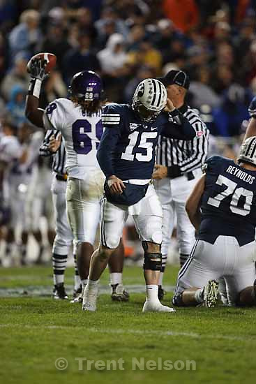 BYU's QB Max Hall (15) walks off the field after fumbling the ball. BYU vs. TCU college football Saturday, October 24 2009 in Provo.