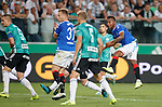 22.08.2019 Legia Warsaw v Rangers: Alfredo Morelos watches another shot saved