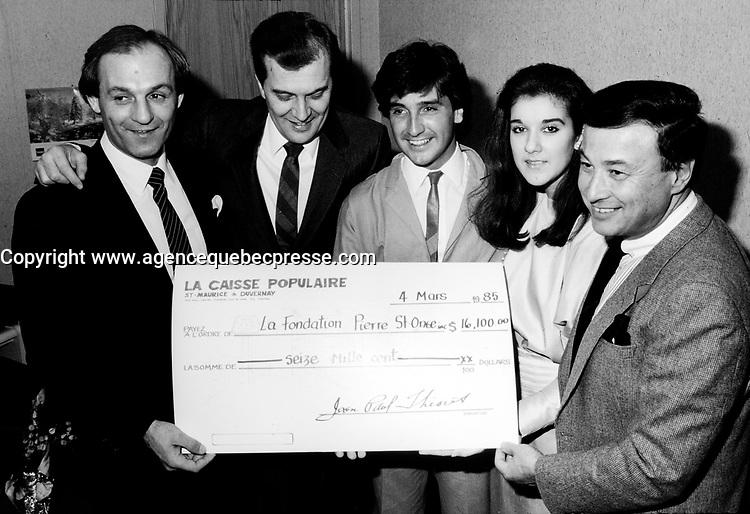 FILE PHOTO : Guy Lafleur, Rene Simard and Celine Dion  attend a fundraiser event, march 4, 1985.<br /> <br /> PHOTO : Agence Quebec Presse