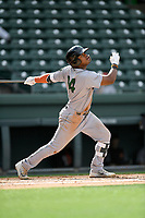 Center fielder Heliot Ramos (14) of the Augusta GreenJackets bats in a game against the Greenville Drive on Wednesday, April 25, 2018, at Fluor Field at the West End in Greenville, South Carolina. Augusta won, 9-2. (Tom Priddy/Four Seam Images)