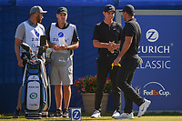 Jason Day (AUS) shakes hands with his playing partner Ryan Ruffels (AUS) during Round 4 of the Zurich Classic of New Orl, TPC Louisiana, Avondale, Louisiana, USA. 4/29/2018.<br /> Picture: Golffile | Ken Murray<br /> <br /> <br /> All photo usage must carry mandatory copyright credit (&copy; Golffile | Ken Murray)