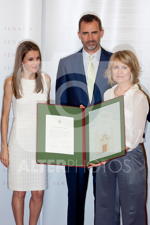 "DELIVERY OF THE IX EDITION OF THE ""LUIS CARANDELL"" PARLIAMENTARY JOURNALISM AT THE HANDS OF THE PRINCES OF ASTURIAS . July 24, 2013. (ALTERPHOTOS/Adrian P. Rincon)<br /> Prince Felipe of Asturias, Princess Litizia of Asturias, María Rey"