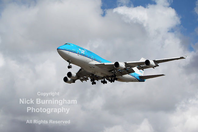 LOS ANGELES, CALIFORNIA, USA - MARCH 8, 2012 - A KLM Boeing 747-400 plane lands at Los Angeles Airport on March 8, 2012. The plane seats 660 passengers and can fly non-stop for up to 7,670 miles