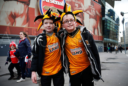 20.02.2016. The Emirates, London, England. Emirates FA Cup 5th Round. Arsenal versus Hull City.  A pair of Hull supporters prior to the 5th round FA Cup match between Arsenal and Hull.