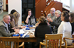Nevada archivist Jeff Kintop, right center, talks to librarians from the Republic of Belarus during their tour the Nevada State Library, Archives and Public Records in Carson City, Nev. on Friday, Jan. 27, 2017. The group is traveling the United States as part of a three-week, multi-state tour to learn about the educational, social and economic impact of public libraries in American society.<br /> Photo by Cathleen Allison/Nevada Photo Source