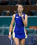 March 27, 2019: Karolina Pliskova (CZE) defeated Marketa Vondrousova (CZE) 6-3, 6-4, at the Miami Open being played at Hard Rock Stadium in Miami, Florida. ©Karla Kinne/Tennisclix 2010/CSM