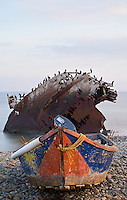 small fishing boat and shipwreck at point San Jacinto, Baja, Mexico