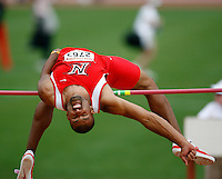 Justin Johnson of Cal. State Northridge won the high jump with a leap of 6'11 in the decathlon at the 81st. Clyde Littlefield Texas Relays held at Mike A. Myers Stadium, The Univ. of Texas on Wednesday, April 2nd. 2008. Photo by Errol Anderson,The Sporting Image.