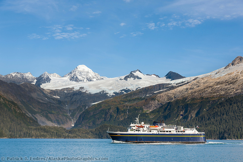 "Alaska marine ferry ""Aurora"" travels through Passage Canal on the way to the port town of Whittier, Prince William Sound, Alaska."