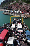 KOMAN - ALBANIA - 19 JUNE 1998 -- The ferry to Fierze leaving the dock of Koman. Supplies to the Albanian refugees are transported cia this route as well as arms tho the fighters.-- PHOTO: JUHA ROININEN / EUP-IMAGES