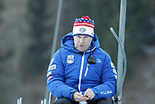 12th January 2018, Val di Fiemme, Fiemme Valley, Italy; FIS Nordic Combined World Cup, Mens Gundersen; Martin Bayer (USA) Nordic Combined coach watches for wind speed
