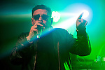 © Joel Goodman - 07973 332324 . 11/04/2015 . Manchester , UK . SHAUN RYDER . Black Grape perform a reunion gig in support of Bez's Reality Party at the Old Granada Studios Warehouse . Photo credit : Joel Goodman