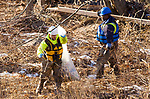 WATERBURY, CT-122117JS01---Workers from Clean Harbors, continue clean up along the Naugatuck River in Waterbury on Thursday for the City of Waterbury. The clean up is one of the demands made by environmental officials as consequences for the October 9 spill of sewage into the river. <br /> Jim Shannon Republican-American
