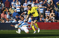 Blackburn Rovers' Ben Brereton and Queens Park Rangers' Massimo Luongo<br /> <br /> Photographer Rob Newell/CameraSport<br /> <br /> The EFL Sky Bet Championship - Queens Park Rangers v Blackburn Rovers - Friday 19th April 2019 - Loftus Road - London<br /> <br /> World Copyright © 2019 CameraSport. All rights reserved. 43 Linden Ave. Countesthorpe. Leicester. England. LE8 5PG - Tel: +44 (0) 116 277 4147 - admin@camerasport.com - www.camerasport.com