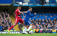 Eden Hazard of Chelsea & Adrian Mariappa of Watford during the Premier League match between Chelsea and Watford at Stamford Bridge, London, England on 21 October 2017. Photo by Andy Rowland.