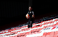 A member of the Sheffield United team retrieves a ball from the stand<br /> <br /> Photographer Alex Dodd/CameraSport<br /> <br /> The Premier League - Sheffield United v Chelsea - Saturday 11th July 2020 - Bramall Lane - Sheffield<br /> <br /> World Copyright © 2020 CameraSport. All rights reserved. 43 Linden Ave. Countesthorpe. Leicester. England. LE8 5PG - Tel: +44 (0) 116 277 4147 - admin@camerasport.com - www.camerasport.com