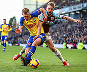 2nd February 2019, Turf Moor, Burnley, England; EPL Premier League football, Burnley versus Southampton; James Ward-Prowse of Southampton holds off a challenge from Charlie Taylor of Burnley