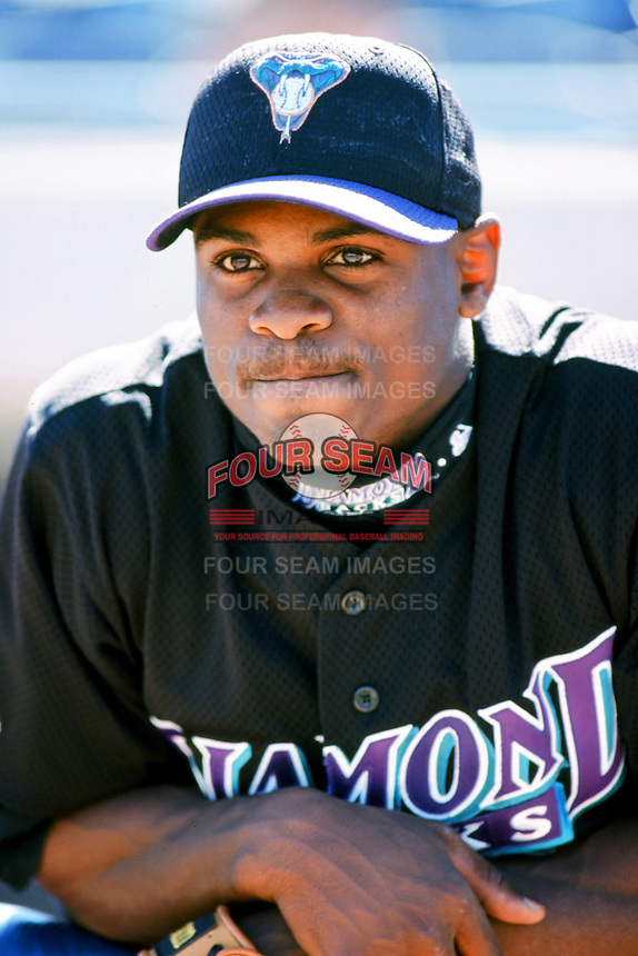 Junior Spivey of the Arizona Diamondbacks before a 1999 season Major League Baseball game against the Los Angeles Dodgers at Dodger Stadium in Los Angeles, California. (Larry Goren/Four Seam Images)