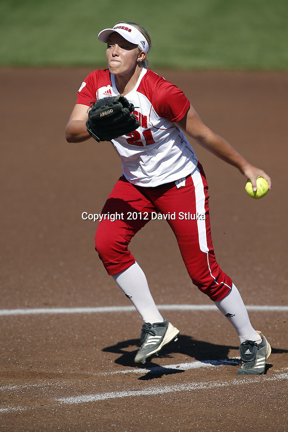 Wisconsin Badgers pitcher Meghan McIntosh (21) during an NCAA women's softball game against the Green Bay Phoenix Saturday, September 29, 2012 in Madison, Wis. Wisconsin won 3-1. (Photo by David Stluka)