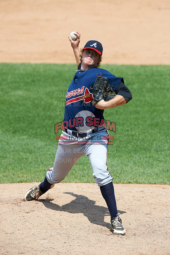 Aubrey McCarty #16 of Colquitt County High School in Doerun, Georgia playing for the Atlanta Braves scout team during the East Coast Pro Showcase at Alliance Bank Stadium on August 4, 2012 in Syracuse, New York.  (Mike Janes/Four Seam Images)
