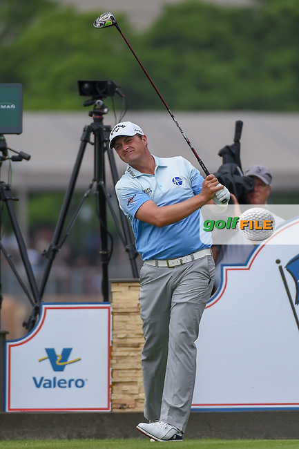 Brian Stuard (USA) watches his tee shot on 11 during day 3 of the Valero Texas Open, at the TPC San Antonio Oaks Course, San Antonio, Texas, USA. 4/6/2019.<br /> Picture: Golffile | Ken Murray<br /> <br /> <br /> All photo usage must carry mandatory copyright credit (© Golffile | Ken Murray)