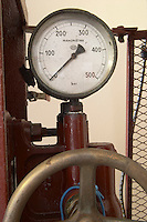 Pressure gauge. Old vertical basket press. Chateau la Grace Dieu les Menuts, Saint Emilion, Bordeaux, France
