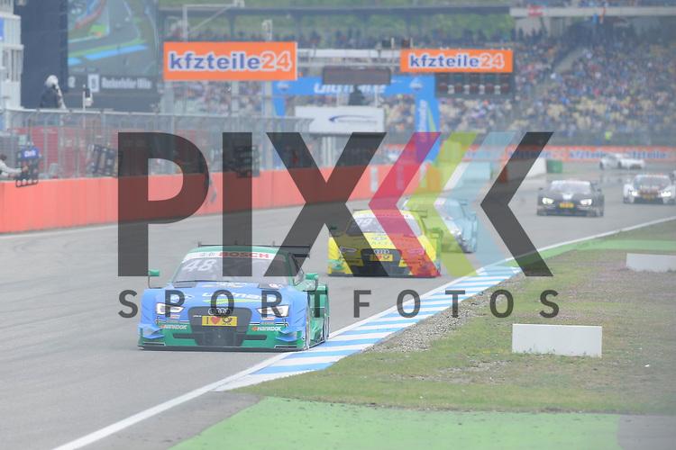 # 48 Edoardo Mortara auf Audi RS5 DTM vom Audi Sport Team Abt Sportsline gefolgt von # 99 Mike Rockenfeller auf Audi RS5 DTM vom Audi Sport Team Phoenix  beim Rennen der DTM auf dem Hockenheimring.<br /> <br /> Foto &copy; P-I-X.org *** Foto ist honorarpflichtig! *** Auf Anfrage in hoeherer Qualitaet/Aufloesung. Belegexemplar erbeten. Veroeffentlichung ausschliesslich fuer journalistisch-publizistische Zwecke. For editorial use only.