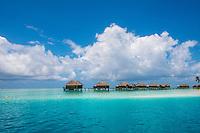 Maldives, Rangali Island. Conrad Hilton Resort. The water villas over the ocean.