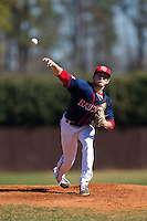 Shippensburg Raiders starting pitcher Rich Michaud (25) delivers a pitch to the plate against the Belmont Abbey Crusaders at Abbey Yard on February 8, 2015 in Belmont, North Carolina.  The Raiders defeated the Crusaders 14-0.  (Brian Westerholt/Four Seam Images)