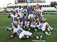 Armwood Hawks players including Byron Cowart #58, Jarvis McCall #14, Darryl Richardson #6, Jeffery Abreu #65, Shedaul Price #80, celebrate after the Florida High School Athletic Association 6A Championship Game at Florida's Citrus Bowl on December 17, 2011 in Orlando, Florida.  Armwood defeated Miami Central 40-31.  (Mike Janes/Four Seam Images)