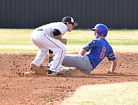 RICK PECK/SPECIAL TO MCDONALD COUNTY PRESS<br /> McDonald County second baseman Jordan Platter tags out an East Newton runner in the Mustangs 3-2 win in a scrimmage held Monday at MCHS.