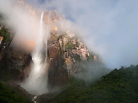 Angel Falls waterfall, the tallest in the world at 979m, falls from Auyantepui mountain in Canaima National Park, Venezuela