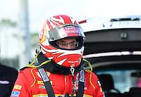 Jan. 16, 2013; Jupiter, FL, USA: NHRA top fuel dragster driver Doug Kalitta during testing at the PRO Winter Warmup at Palm Beach International Raceway.  Mandatory Credit: Mark J. Rebilas-