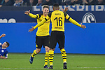08.12.2018, Veltins-Arena, Gelsenkirchen, GER, 1. FBL, FC Schalke 04 vs. Borussia Dortmund, DFL regulations prohibit any use of photographs as image sequences and/or quasi-video<br /> <br /> im Bild Schlussjubel / Schlußjubel / Emotion / Freude / von Lukasz Piszczek (#26, Borussia Dortmund) Manuel Akanji (#16, Borussia Dortmund) <br /> <br /> Foto © nordphoto/Mauelshagen
