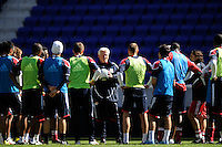 New York Red Bulls head coach Hans Backe talks to the team during a practice at Red Bull Arena in Harrison, NJ, on March 16, 2010.