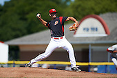 Batavia Muckdogs starting pitcher Sam Perez (38) during the first game of a doubleheader against the Auburn Doubledays on September 4, 2016 at Dwyer Stadium in Batavia, New York.  Batavia defeated Auburn 1-0 in a continuation of a game started on August 13. (Mike Janes/Four Seam Images)