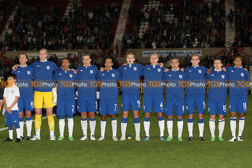 England players sing the national anthem before kick-off - England Women vs Slovenia Women - European Championship Qualifying Match at the County Ground, Swindon Town FC - 22/09/11 - MANDATORY CREDIT: Gavin Ellis/TGSPHOTO - Self billing applies where appropriate - 0845 094 6026 - contact@tgsphoto.co.uk - NO UNPAID USE.