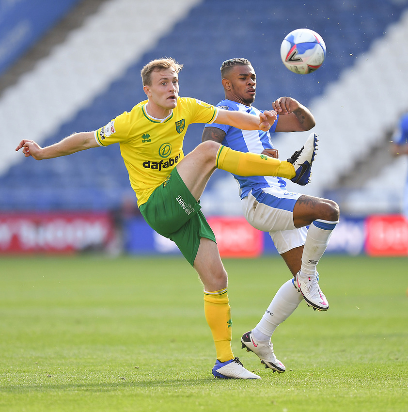 Huddersfield Town's Juninho Bacuna battles with Norwich City's Oliver Skipp<br /> <br /> Photographer Dave Howarth/CameraSport<br /> <br /> The EFL Sky Bet Championship - Huddersfield Town v Norwich - Saturday September 12th 2020 - The John Smith's Stadium - Huddersfield<br /> <br /> World Copyright © 2020 CameraSport. All rights reserved. 43 Linden Ave. Countesthorpe. Leicester. England. LE8 5PG - Tel: +44 (0) 116 277 4147 - admin@camerasport.com - www.camerasport.com