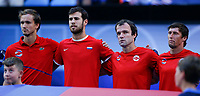 5th January 2020; RAC Arena, Perth, Western Australia; ATP Cup Australia, Perth, Day 3; Russia versus USA; Russian team members during their National Anthem - Editorial Use