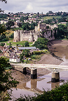 Wales, Chepstow.  Chepstow Castle and the River Wye.  Oldest Stone Castle in Britain.  Begun 1067, mostly 13th century.
