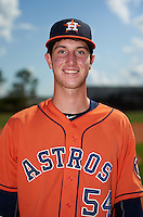 Houston Astros Kyle Tucker (54) poses for a photo after an instructional league game against the Atlanta Braves on October 1, 2015 at the Osceola County Complex in Kissimmee, Florida.  (Mike Janes/Four Seam Images)