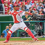7 October 2016: Washington Nationals catcher and Baseball America top prospect Pedro Severino in action during the NLDS Game 1 against the Los Angeles Dodgers at Nationals Park in Washington, DC. The Dodgers edged out the Nationals 4-3 to take the opening game of their best-of-five series. Mandatory Credit: Ed Wolfstein Photo *** RAW (NEF) Image File Available ***