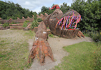 Pictured: The mythical beast sculpture by artist Gwen Heeney Saturday 13 August 2016<br />Re: Grow Wild event at  Furnace to Flowers site in Ebbw Vale, Wales, UK