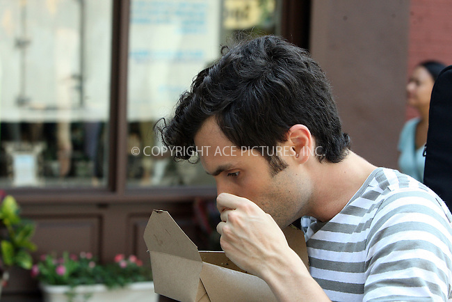 WWW.ACEPIXS.COM . . . . .  ....August 2, 2012 New York City....Actor Penn Badgley on the set of 'Gossip Girl' in New York City on August 2, 2012.....Please byline: PHILIP VAUGHAN - ACE PICTURES.... *** ***..Ace Pictures, Inc:  ..Philip Vaughan (212) 243-8787 or (646) 769 0430..e-mail: info@acepixs.com..web: http://www.acepixs.com