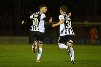 Padraig Amond and Jordan Stewart of Grimsby Town celebrate scoring their first goal during the Vanarama National League match between Aldershot Town and Grimsby Town at the EBB Stadium, Aldershot, England on 5 April 2016. Photo by Paul Paxford / PRiME Media Images.